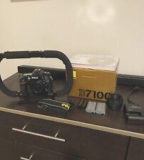 Nikon D D7100 24.1MP Digital SLR Camera - Black w/50mm f/1.8 lens 3 Battery/ RIG