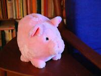 Fuzzy Big Piggy Bank Pink Pig Gift Saving Children Kids Fun Hog Cash Saving Pork