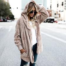 Women Fluffy Shaggy Faux Fur Coat Warm Cardigan Jacket Outwear Tops Jumper Parka
