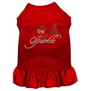 Tis the Season to Sparkle Rhinestone Dog Dress Red