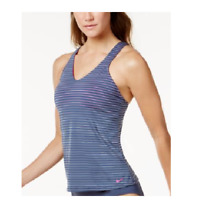 Nike Womens Striped Racerback Active Tankini Swim Top Small Pink Blue New
