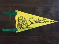 Vintage Saskatoon Saskatchewan Pennant Felt Banner Canada Souvenir SK 1960's