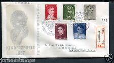 FDC E33 - E 33, Kinderzegels 1957, met getypt adres en R-strook Zierikzee