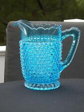 EAPG Doyle US Glass Blue Hobnail with Thumbprint Base Water Pitcher EXC