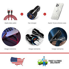 Usb Charging Cable + Fast Car Charger + Clear Phone Case Cover For iPhone12 Pro
