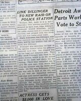 Bank Robber JOHN DILLINGER Warsaw Indiana Police Station Raid 1934 Old Newspaper