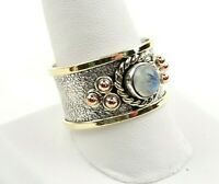 Sterling Silver Moonstone Tri Color Textured Wide Band Ring