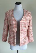 Talbots Jacket Blazer Tweed Open Front Size 10