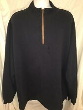 WOOLRICH mens Half Zip Blue Pullover XXL Elbow Patch Sweater