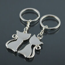 Couple Cat Chrome Silver Couple Key Rings Key Chains One Black & White Gift Cute