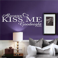 ALWAYS KISS GOODNIGHT Wall Art Sticker Quote Bedroom Decal Mural Vinyl Transfer