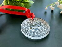 Lalique 1997 Christmas Ornament Reindeer Round Clear Xmas NEW Deer