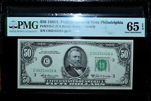 1969-A $50 FEDERAL RESERVE NOTE ✪ PMG GEM-65-EPQ ✪ FR 2115-C UNC 416 ◢TRUSTED◣