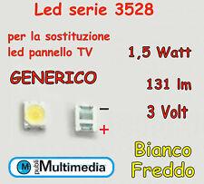 10 Led 3528 generico per ricambio retroilluminazione TV 1,5W 3V 131-140LM