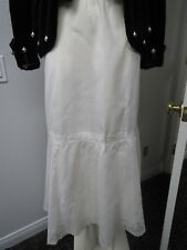 Vtg Victorian Ca 1880 White Lawn Skirt With Lace Inserts Double Ruffle Lined
