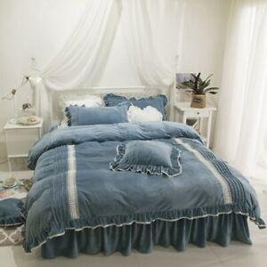 Crystal Velvet Bedding Set Winter Purple Bed Skirt Linen White Lace Decor Duvet