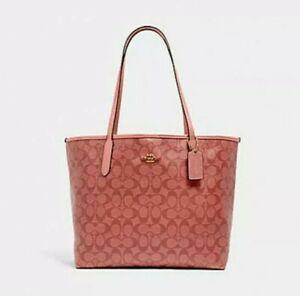 🌹NWT Coach City Tote Signature Canvas Candy Pink laptop shoulder bag handbag