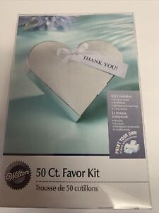 Wilton 50 Count Favor Kit Silver Heart Bridal Shower Birthday Party