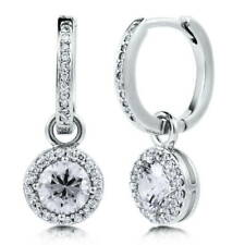 BERRICLE Sterling Silver Round CZ Halo Anniversary Wedding Dangle Drop Earrings