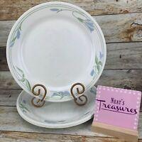 Corelle By Corning BLUE WREATH White Blue Green Design Dinner Plates USA Set 4