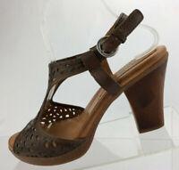 Naya Alpine Slingback Heels Sandal Brown Leather Casual Shoes Womens Size 9 M