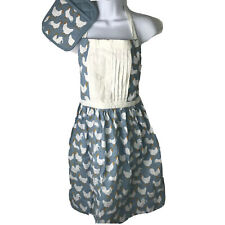Roosters Apron Pot Holder Oven Mitt Farm House Kitchen Blue White Hot Plate