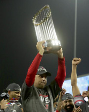 Boston Red Sox ALEX CORA HOLDING 2018 WORLD SERIES TROPHY 8x10 Photo