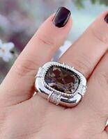 Smokey Quartz & Diamond Ring in Sterling Silver Sz 7.25  #90