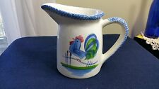 N.S. GUSTIN BLUE SPONGEWARE PITCHER WITH ROOSTER DESIGN