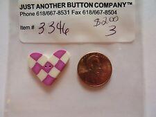 Jabc button #3346 - Pink & White Checked Heart