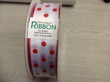 CHRISTMAS WIRE EDGED RIBBON -  WHITE SATIN WITH RED POLKA DOTS