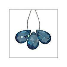 6 Cubic Zirconia Flat Pear Briolette Beads 6x9mm Dark London Blue #64940