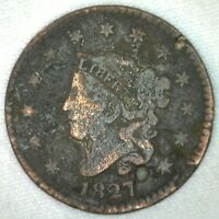 1827 US One Cent Coronet Head Cent Copper Damage Indents Dings KJ45