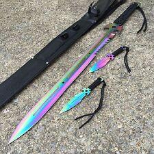 """3PC COMBO 27"""" Full Tang Ninja Sword DEAD WALKER Machete Throwing Knife 926880-RB"""