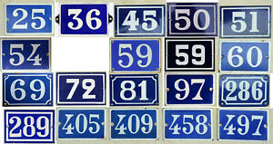 Old blue French house number - thousands of vintage steel enamel examples listed