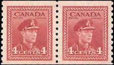 Canada Mint NH F-VF Pair Scott #281 4c 1948 King George VI War Coil Stamps