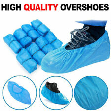 200x Disposable Shoe Cover Blue Anti Slip Plastic Cleaning Overshoes Boot Safety