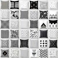 Schwarz Weiß Muster Baumwolle Kissenbezug Kissenhülle Dekokissen 45x45cm