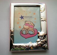 NEW Italy Designer PREZIORA Argenti Sterling Silver Enamel Child Picture Frame
