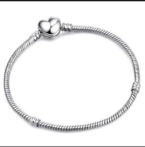 snake chain Charm Bracelet 20cm for sterling Silver 925 charm beads