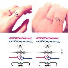 Tatuaje Temporal Anillo Negro Tobillo Dedo Tatuaje Bigote Arco Diamond tt418