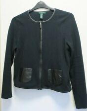 RALPH LAUREN Black Thick Cotton Jacket With Faux Leather Trim - L