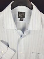 JOS A BANK Mens Blue Striped L/S Dress Shirt 15.5-33 Travelers