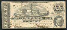 T-51 1862 $20 TWENTY DOLLARS CSA CONFEDERATE STATES OF AMERICA ABOUT UNC