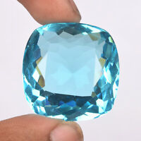 Brazilian 67.65 Faceted Swiss Blue Topaz Perfect Cushion Cut Loose Gemstone