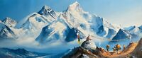 MOUNT EVEREST FROM BASE CAMP, ORIGINAL ACRYLIC PAINTING ON CANVAS 14 x 36-INCH