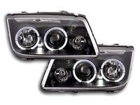 VW Bora 1J 1998-2005 Black Angel Eyes Headlights Pair RHD FREE P&P NEW