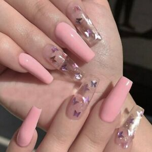 Pink Laser Butterfly Tips with Design Press On Nail Coffin Fake Artificial Nails