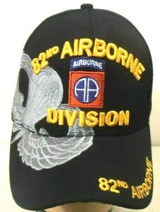 82ND AIRBORNE MILITARY BALL CAP 82ND AIRBORNE U.S. ARMY HAT BLACK