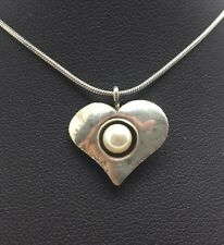 """Didae Heart Pearl Israel Sterling Silver 925 Pendant Necklace 16"""" N6039"""